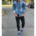 Джинсовые рубашки мужские